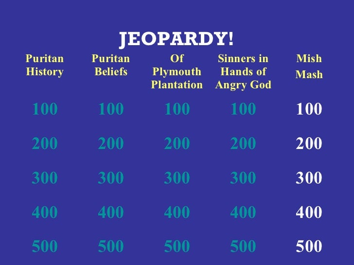 JEOPARDY!Puritan   Puritan      Of      Sinners in   MishHistory   Beliefs   Plymouth    Hands of    Mash                 ...