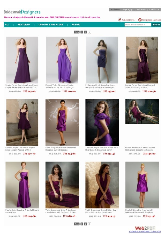 Prev 1 2 3 Prev 1 2 3 Simple Purple Sleeveless Sweetheart Empire Pleated Floor-length Chiffon Bridesmaid Dress US$ 389.00 ...