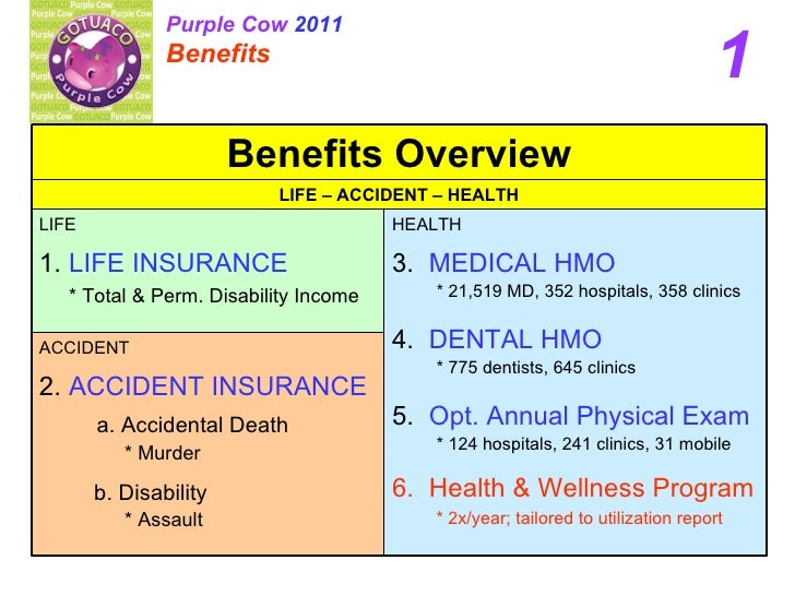 1 Purple Cow  2011 Benefits   ACCIDENT 2.  ACCIDENT INSURANCE a. Accidental Death * Murder b. Disability * Assault HEALTH ...