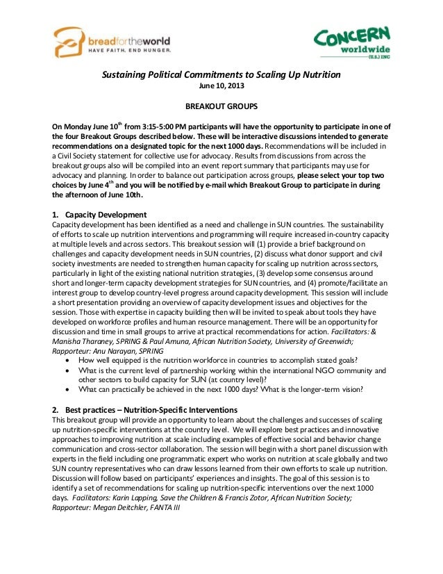 Sustaining Political Commitments to Scaling Up NutritionJune 10, 2013BREAKOUT GROUPSOn Monday June 10thfrom 3:15-5:00 PM p...