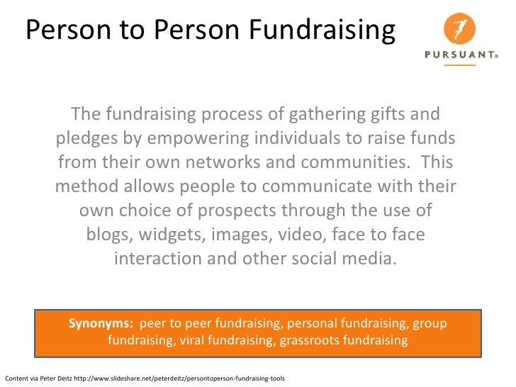 Person to Person Fundraising                    The fundraising process of gathering gifts and                 pledges by ...