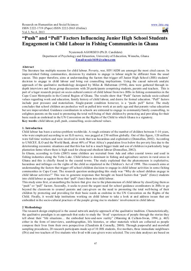 """""""Push"""" and """"pull"""" factors influencing junior high school students engagement in child labour in fishing communities in ghana"""