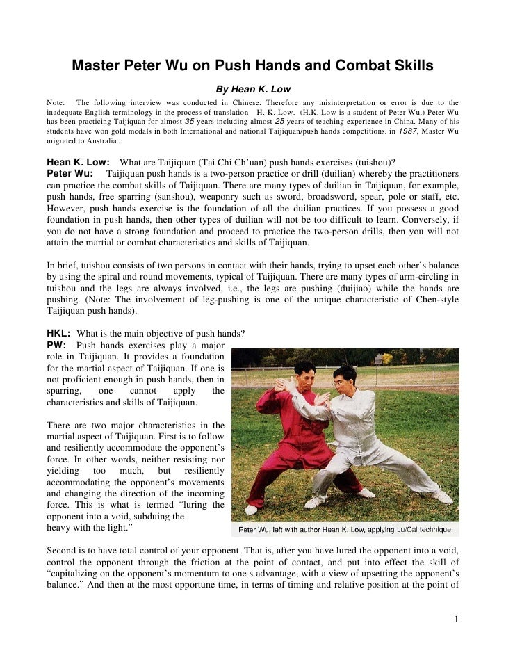 Master Peter Wu on Push Hands and Combat Skills                                                 By Hean K. LowNote: The fo...