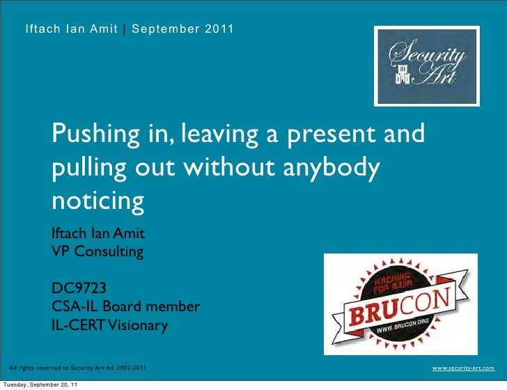 Iftach Ian Amit | September 2011                Pushing in, leaving a present and                pulling out without anybo...