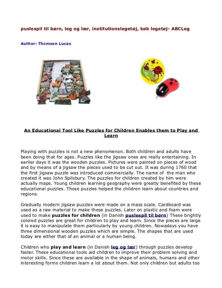 puslespil til børn, leg og lær, institutionslegetøj, køb legetøj- ABCLegAuthor: Thomsen Lucas An Educational Tool Like Puz...
