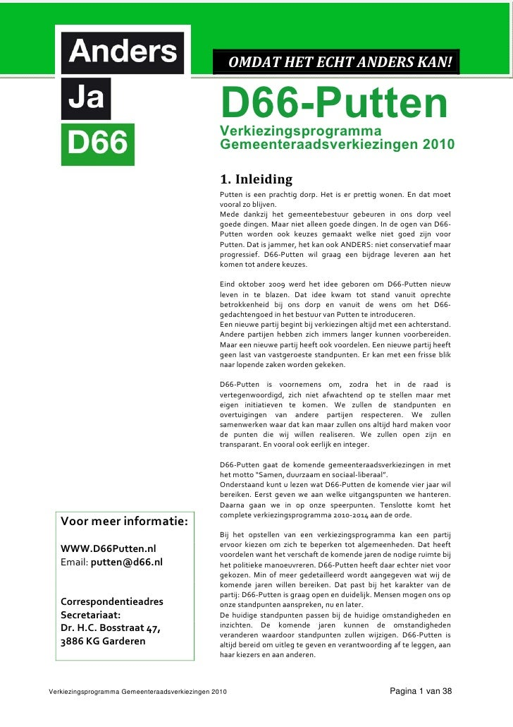 Putten D66 Verkiezingsprogramma 2010 2014