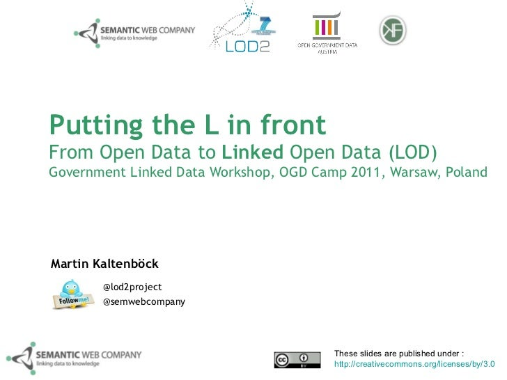 Putting the L in front From Open Data to  Linked  Open Data (LOD) Government Linked Data Workshop, OGD Camp 2011, Warsaw, ...