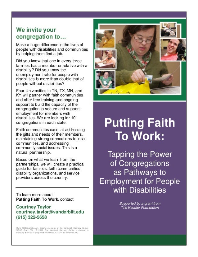 We invite your congregation to… Make a huge difference in the lives of people with disabilities and communities by helping...