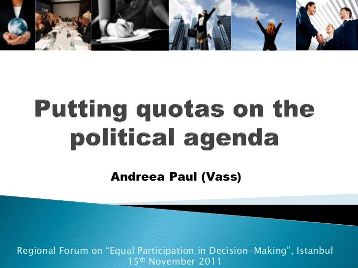 """Andreea Paul (Vass)Regional Forum on """"Equal Participation in Decision-Making"""", Istanbul                      15th November..."""