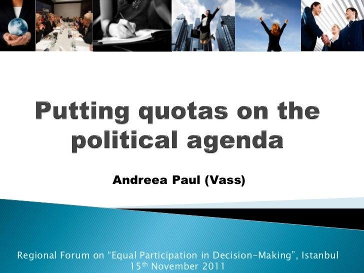 Putting Gender Quotas on the Political Agenda