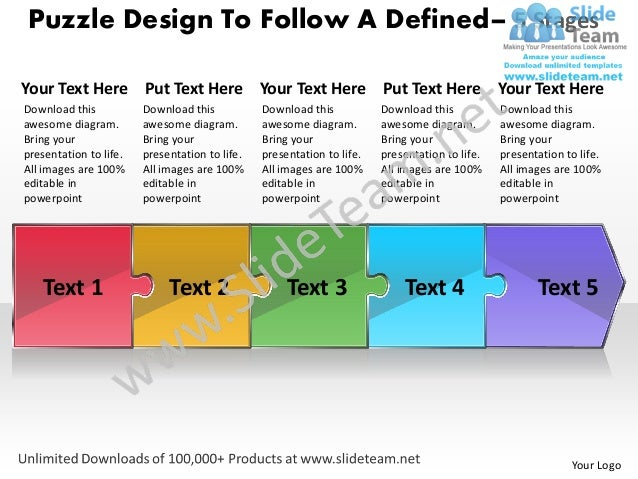 Puzzle design to follow a defined process 5 stages wire schematic power point templates