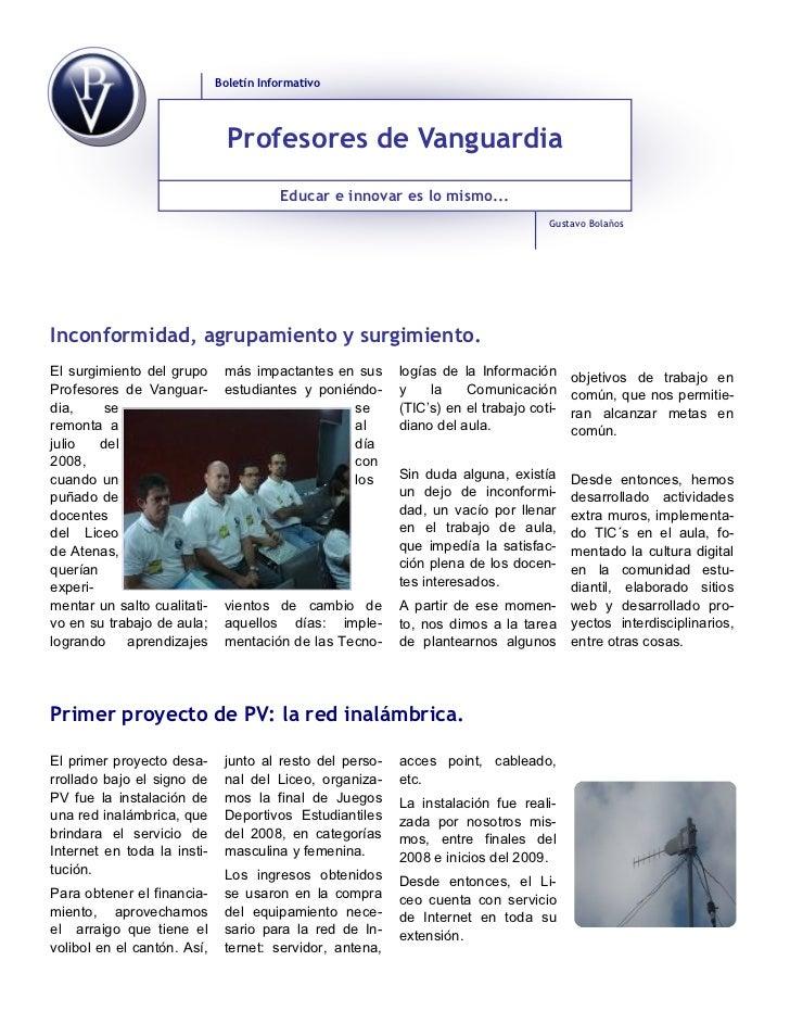 Boletín Informativo                               Profesores de Vanguardia                                        Educar e...
