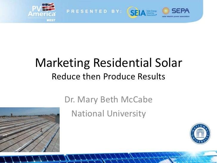 Marketing Residential Solar (PV America 03-21-2012)