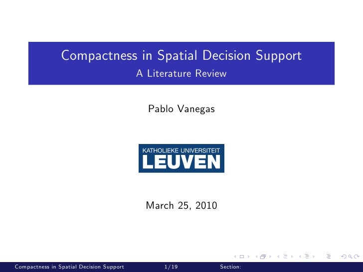 Compactness in Spatial Decision Support                                           A Literature Review                     ...