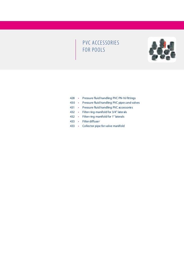 PVC aCCessories            for Pools428   •   PressurefluidhandlingPVCPN-16fittings430   •   Pressurefluidhandl...