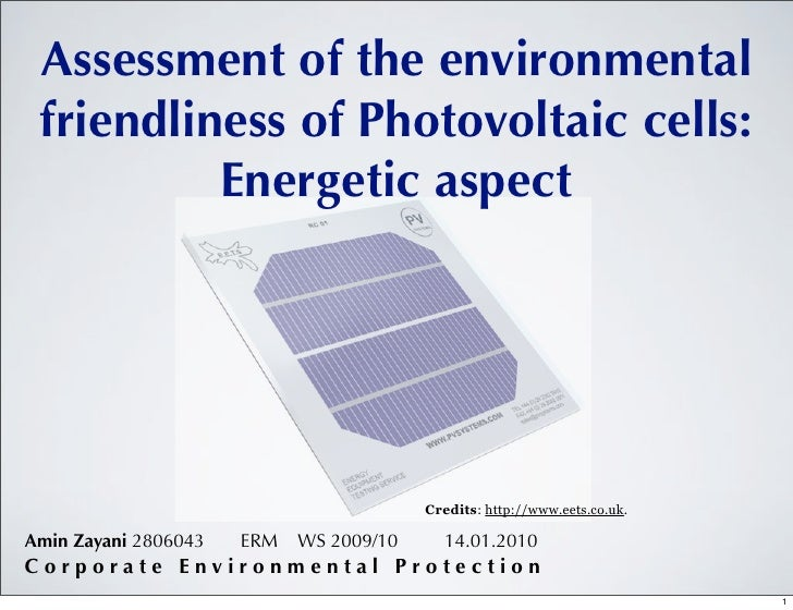 Assessment of the environmental friendliness of Photovoltaic cells:          Energetic aspect                             ...