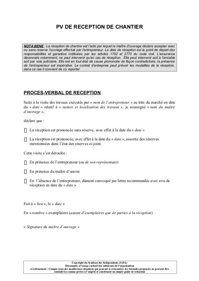 Pv de r ception de chantier - Proces verbal de reception de travaux ...