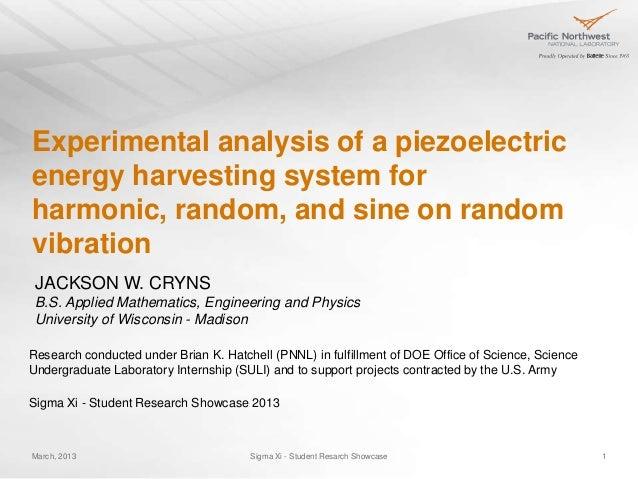 Experimental analysis of a piezoelectricenergy harvesting system forharmonic, random, and sine on randomvibration JACKSON ...