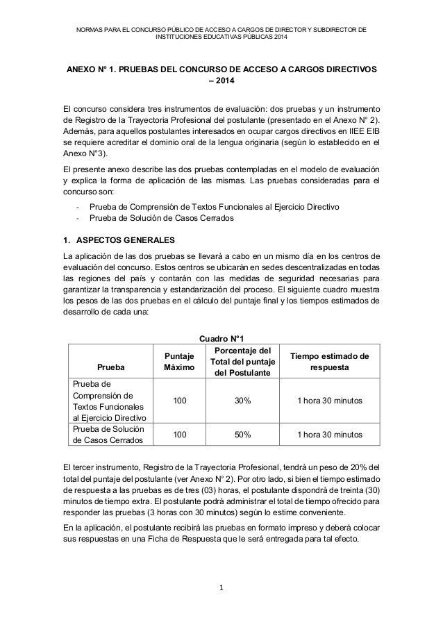 NORMAS PARA EL CONCURSO PÚBLICO DE ACCESO A CARGOS DE DIRECTOR Y SUBDIRECTOR DE  INSTITUCIONES EDUCATIVAS PÚBLICAS 2014  1...