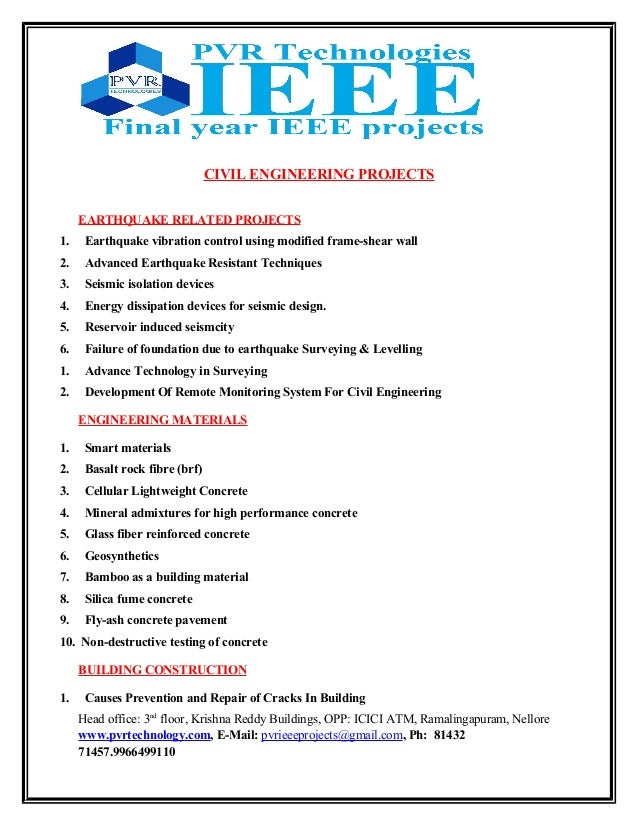 project for civil engineering b tech Browse b tech civil engineering jobs, jobs with similar skills, companies and titles  assistant project manager ( b tech in civil engineer ) (8 - 12 yrs.