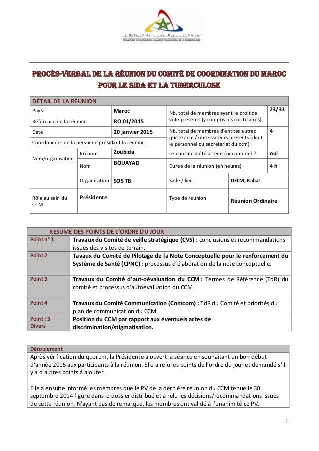 1 Procès-verbal de la réunion du Comité de Coordination DU Maroc pour le SiDA et la tuberculose DÉTAIL DE LA RÉUNION Pays ...
