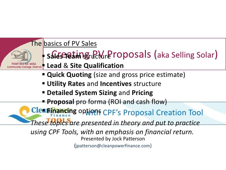 Pv sales intro and session one
