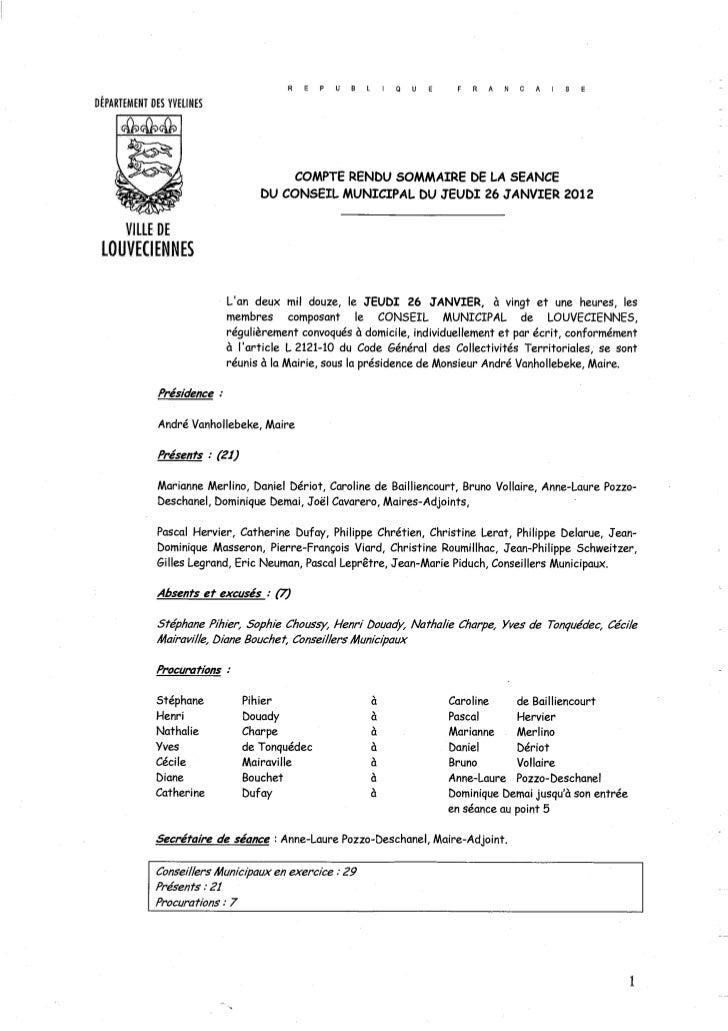 Conseil municipal du 26 janvier 2012