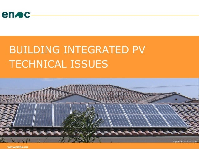 Building integrated PV - technical issues - part 1