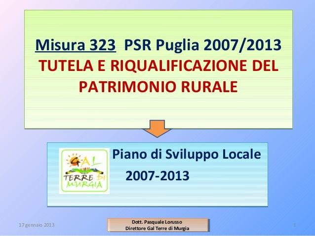 Bando Misura 323 - Tutela e riqualificazione del patrimonio rurale