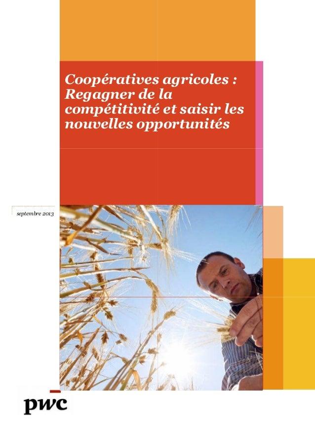 Coopératives agricoles : Regagner de la compétitivité et saisir les nouvelles opportunités septembre 2013 Coopératives agr...