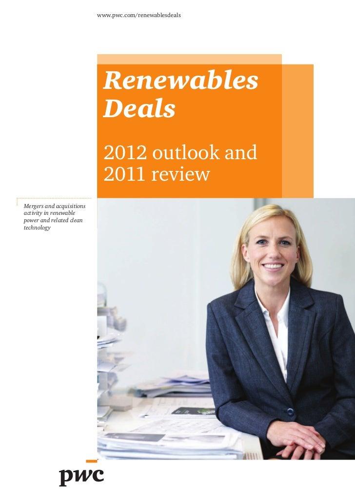 Renewables Deals : étude sur les fusions-acquisitions dans le secteur des énergies renouvelables (mars 2012)
