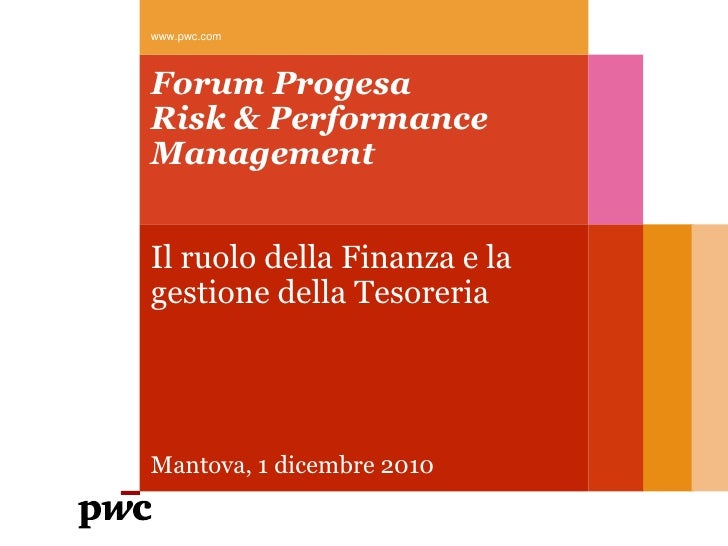 Pwc - Ruolo della finanza e della tesoreria