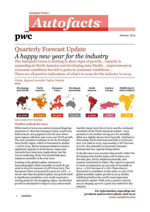 Analyst Note>  Autofacts  R  January 2014  Quarterly Forecast Update A happy new year for the industry  The European Union...