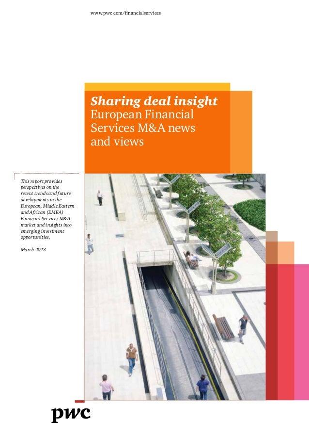 Etude PwC sur les fusions-acquisitions dans le secteur européen des services financiers (2013)