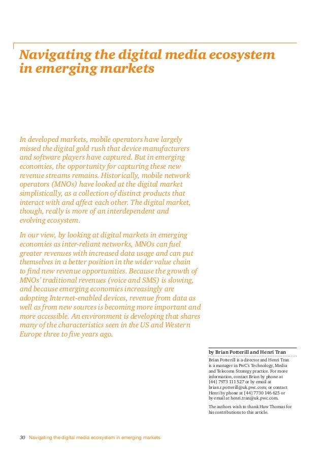 Etude PwC sur le rôle des opérateurs de réseaux mobiles dans les pays émergents (2013)