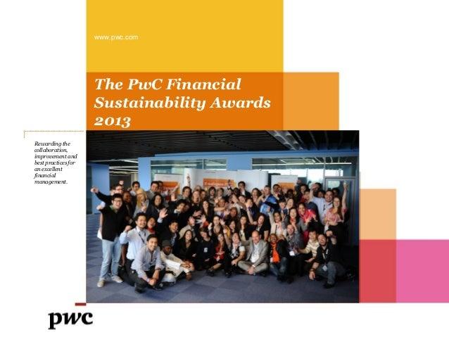 PwC Financial Sustainability Award 2013 booklet