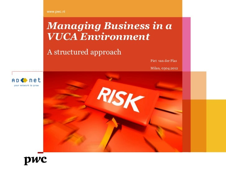 www.pwc.nlManaging Business in aVUCA EnvironmentA structured approach                        Piet van der Plas            ...