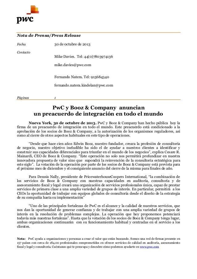 Nota de Prensa/Press Release Fecha  30 de 0ctubre de 2013  Contacto  Mike Davies. Tel: 44(0)7803974136 mike.davies@pwc.com...
