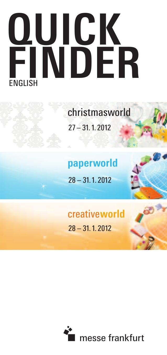 QUICK FINDERENGLISH 28 – 31.1.2012 28 – 31.1.2012 27– 31.1.2012