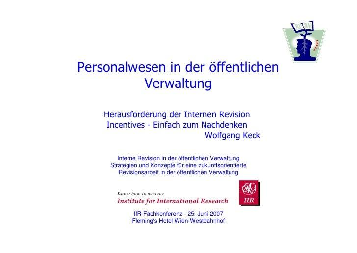 Personalwesen in der öffentlichen          Verwaltung    Herausforderung der Internen Revision    Incentives - Einfach zum...