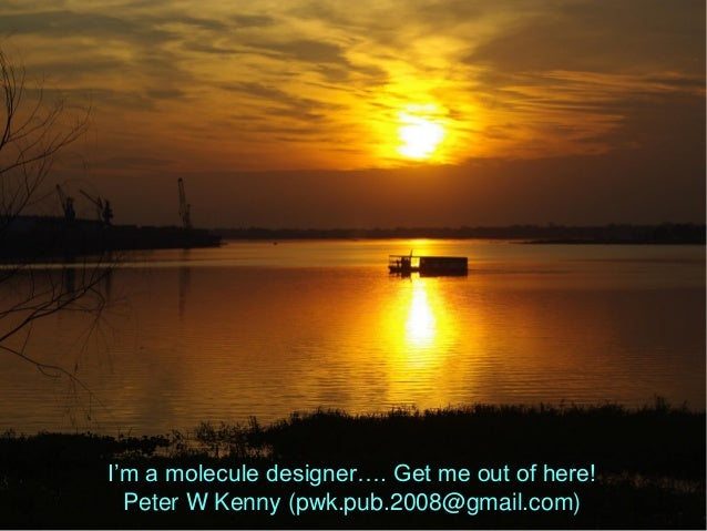 I'm a molecule designer…. Get me out of here! Peter W Kenny (pwk.pub.2008@gmail.com)