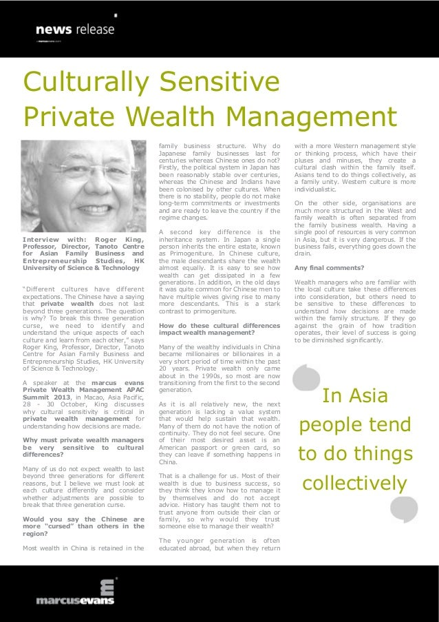 Culturally Sensitve Private Wealth Management - Interview: Roger King, Professor, Director, Tanoto Centre for Asian Family Business and Entrepreneurship Studies, HK University of Science & Technology, Private Wealth Management APAC Summit