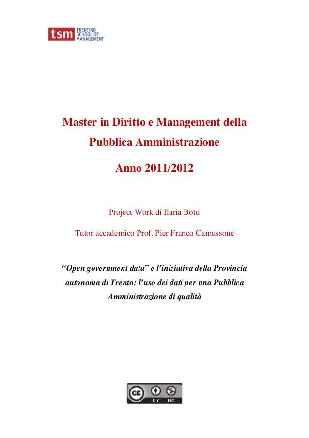 Master in Diritto e Management della       Pubblica Amministrazione               Anno 2011/2012             Project Work ...