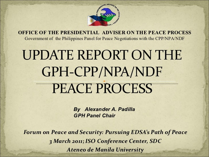 Update Report on the GPH-CPP/NPA/NDF Peace Process