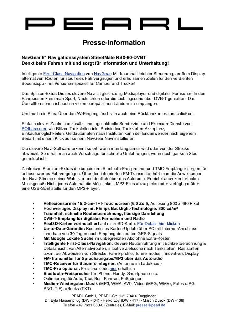 """Presse-InformationNavGear 6"""" Navigationssystem StreetMate RSX-60-DVBTDenkt beim Fahren mit und sorgt für Information und U..."""