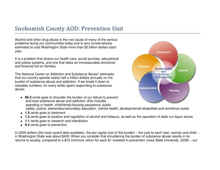4948555744220Snohomish County AOD: Prevention Unit<br />Alcohol and other drug abuse is the root cause of many of the seri...