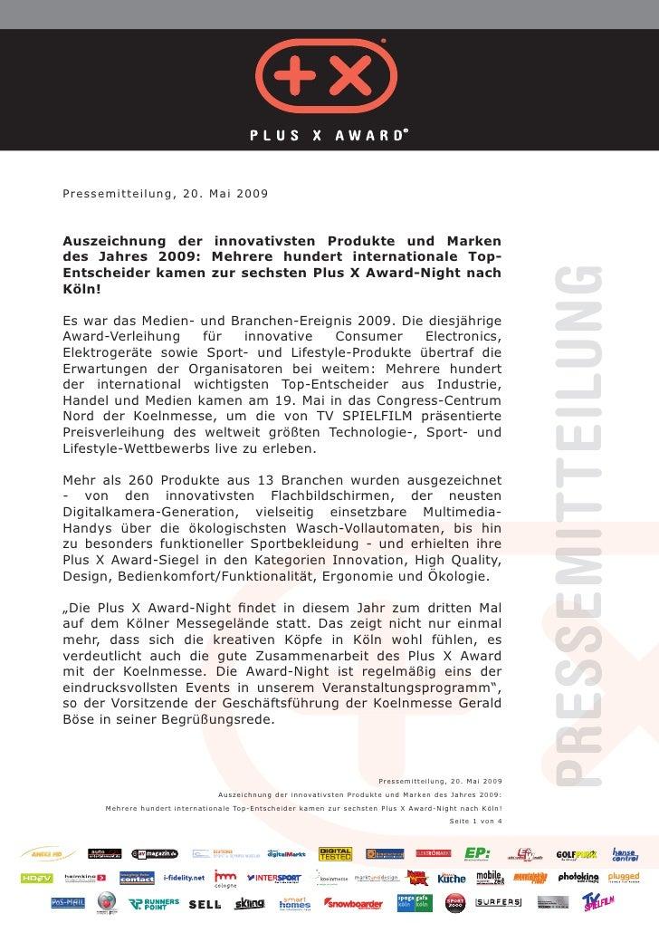 Pressemitteilung, 20. Mai 2009Auszeichnung der innovativsten Produkte und Markendes Jahres 2009: Mehrere hundert internati...