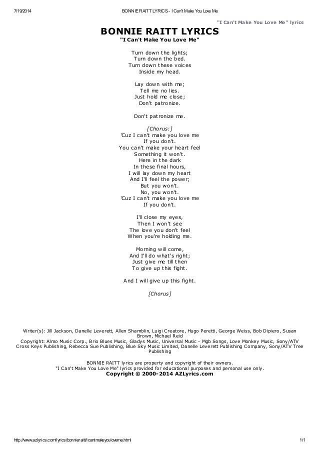 Bonnie raitt lyrics i cant make you love me