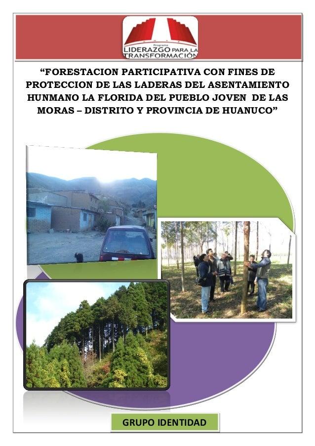 """""""FORESTACION PARTICIPATIVA CON FINES DE PROTECCION DE LAS LADERAS DEL ASENTAMIENTO HUNMANO LA FLORIDA DEL PUEBLO JOVEN DE ..."""