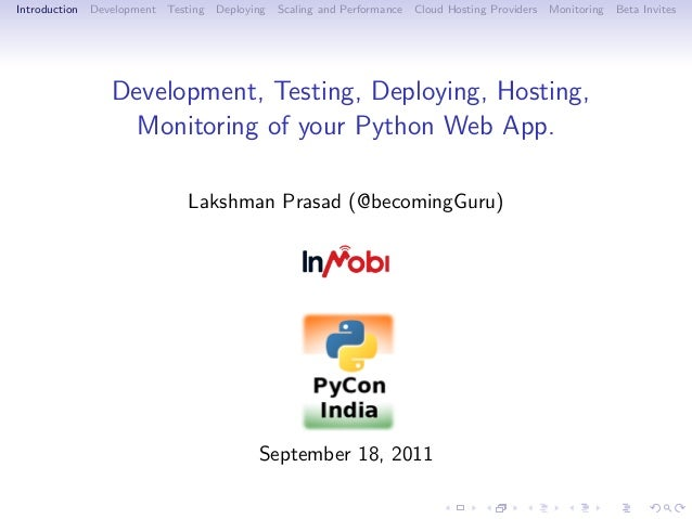 Introduction   Development   Testing   Deploying   Scaling and Performance   Cloud Hosting Providers   Monitoring   Beta I...